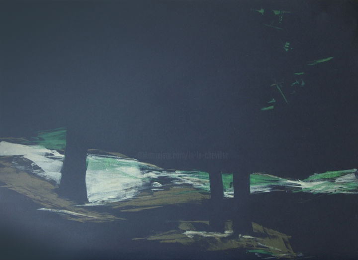 Nocturne - 9 - Printmaking,  19.7x27.6 in, ©2019 by LN Le Cheviller -                                                                                                                                                                                                                                                                                                                                                                                                          Expressionism, expressionism-591, Tree, Landscape, paysage, nuit, arbre, forêt