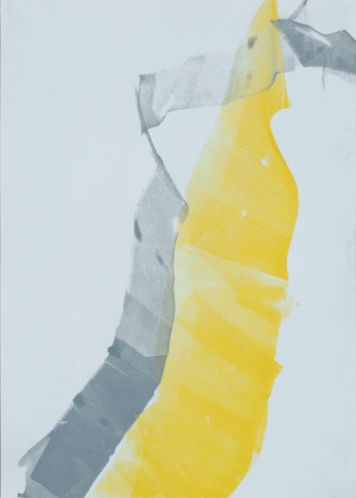 Fifties 21 - Drawing,  19.7x13.8 in, ©2017 by LN Le Cheviller -                                                                                                                                                                                                                                                                                                                                                                                                                                                                                                                                              Abstract, abstract-570, Landscape, paysage, abstrait, monotype, coloré, blanc, jaune, gris, ln le cheviller