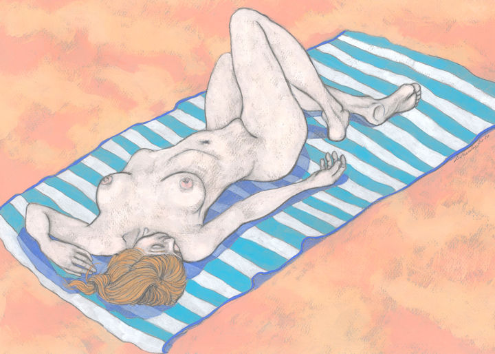 Sunbathing - Drawing,  11.8x16.5 in, ©2020 by Natalie Levkovska -                                                                                                                                                                                                                                                                                                                                                                                                                                                                                                                                                                                                                                                                                                                                                                                                                                                                  Impressionism, impressionism-603, Beach, Body, Health & Beauty, Nude, Women, figurative art, Naked human body, Collectible Art, Unique Gifts Art, Woman Power, Erotic Art female, Drawing Wall Décor, Beautiful young woman, Young naked woman, Holiday mood, Natalie Levkovska art