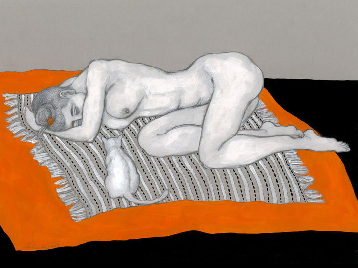 You know my secret - Drawing,  11.8x16.5 in, ©2019 by Natalie Levkovska -                                                                                                                                                                                                                                                                                                                                                                                                                                                                                                                                                                                                                                                                                                                                                                          Figurative, figurative-594, Body, Cats, Erotic, Nude, Women, Naked human body, figurative art, Collectible Art, Unique Gifts Art, Home Décor, Erotic Art female, Woman Power, Young naked woman, Bohemian Wall Décor