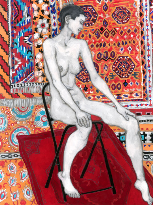 Moroccan carpet - Drawing,  16.5x11.8 in, ©2019 by Natalie Levkovska -                                                                                                                                                                                                                                                                                                                                                                                                                                                                                                                                                                                                                                                                                                                                                                          Figurative, figurative-594, Body, Erotic, Health & Beauty, Nude, Women, Art and Collectibles, Home Décor, sensual seduction, Naked human body, Woman Power, Erotic Art female, Original Drawings, Beautiful young woman, Bohemian Wall Décor