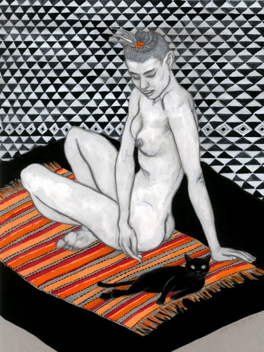 My friend black cat - Drawing,  16.5x11.8 in, ©2019 by Natalie Levkovska -                                                                                                                                                                                                                                                                                                                                                                                                                                                                                                                                                                                                                                                                                                                              Figurative, figurative-594, Body, Cats, Erotic, Nude, Women, Naked human body, Woman Power, Erotic Art female, Unique Gifts Art, sensual seduction, Woman and cat, Young naked woman, Art and Collectibles