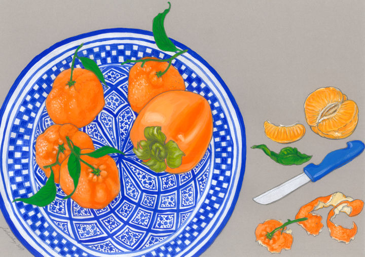 Clementines on a Moroccan plate - Drawing,  11.8x16.5 in, ©2019 by Natalie Levkovska -                                                                                                                                                                                                                                                                                                                                                                                                                                                                                                                                                                                                                                                                                  Illustration, illustration-600, Cuisine, Food & Drink, Patterns, Still life, Unique Gifts Art, Original Drawings, Clementine, Christmas mood, Moroccan plate, Bohemian Wall Décor, Fruits, Kitchen Décor