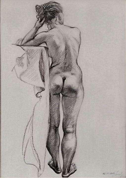 Naked model's back - Drawing,  16.5x11.8 in, ©2010 by Natalie Levkovska -                                                                                                                                                                                                                                                                                                                                                                                                                                                                                                                                                                                                                                                                                                                                                                                                                                                                  Figurative, figurative-594, Body, Erotic, Health & Beauty, Nude, Women, Naked human body, Collectible Art, Unique Gifts Art, Art and Collectibles, Woman Power, Erotic Art female, Drawing Wall Décor, Bedroom art, Beautiful young woman, Young naked woman, Natalie Levkovska art
