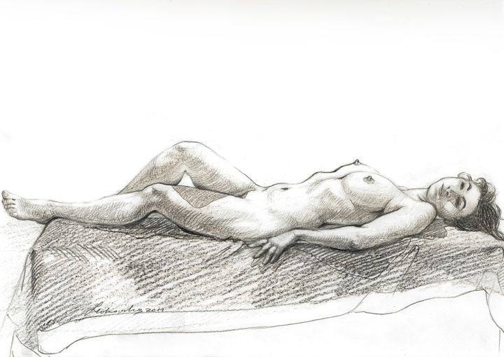 Resting Beauty - Desenho,  8,3x12,6 in, ©2011 por Natalie Levkovska -                                                                                                                                                                                                                                                                                                                                                                                                                                                                                                                                                                                                                                                                                                                                                                                                                                                                                                              Figurative, figurative-594, Corpo, Erótico, Saúde & Beleza, Nudez, Mulheres, Unique Gifts Art, Real model, Naked human body, Collectible Art, Art and Collectibles, Erotic Art female, Drawing Wall Décor, Bedroom art, Beautiful young woman, Unique Birthday gift, Wall Décor Art, Natalie Levkovska art