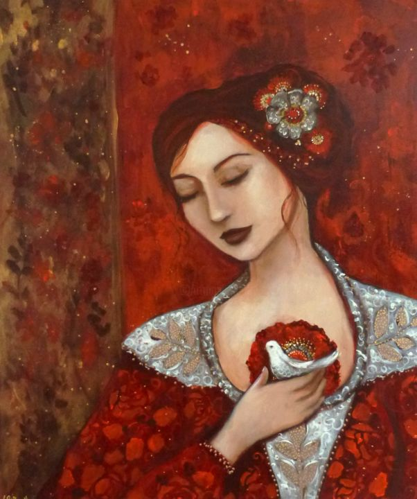 Le messager - Painting,  25.6x21.3x0.8 in, ©2017 by PILLAULT -                                                                                                                                                                                                                                                                                                                                                                                                                                                                                                                                                                                                                                                                                                                                                                                                                                                                  Figurative, figurative-594, Women, femme, oiseau, paix, peace, bird, woman red, gold, flowers, romantic, acrylic, peacefull, dreaming, redhair, dove, colombe