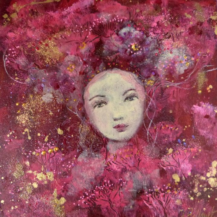 Pink Abysses - Painting,  20x20x1.5 cm ©2017 by PILLAULT -                                            Figurative Art, Women, femme, rose, pink, coral, gold, doré, rêve