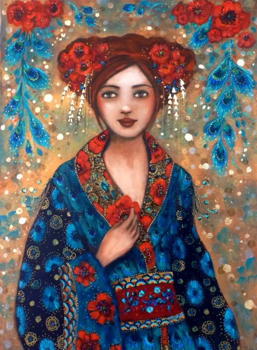 Sonate d'été. - Painting,  73x54x2 cm ©2018 by PILLAULT -                                            Figurative Art, Women, asian woman, woman portrait, portrait femme, kimono, poppies, coquelicots, plumes de paon, peacock feathers, turquoise, red flowers, golden, colorfull painting, red hair woman