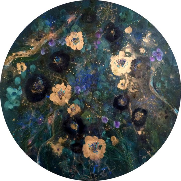 Ondes fleuries - Painting,  60x60x2 cm ©2018 by PILLAULT -                                            Expressionism, Flower, flowers, aquatic fllowers, fleurs, mixed media, tondo, round canvas, toile ronde, acrylic, gold, blue, impressionnism