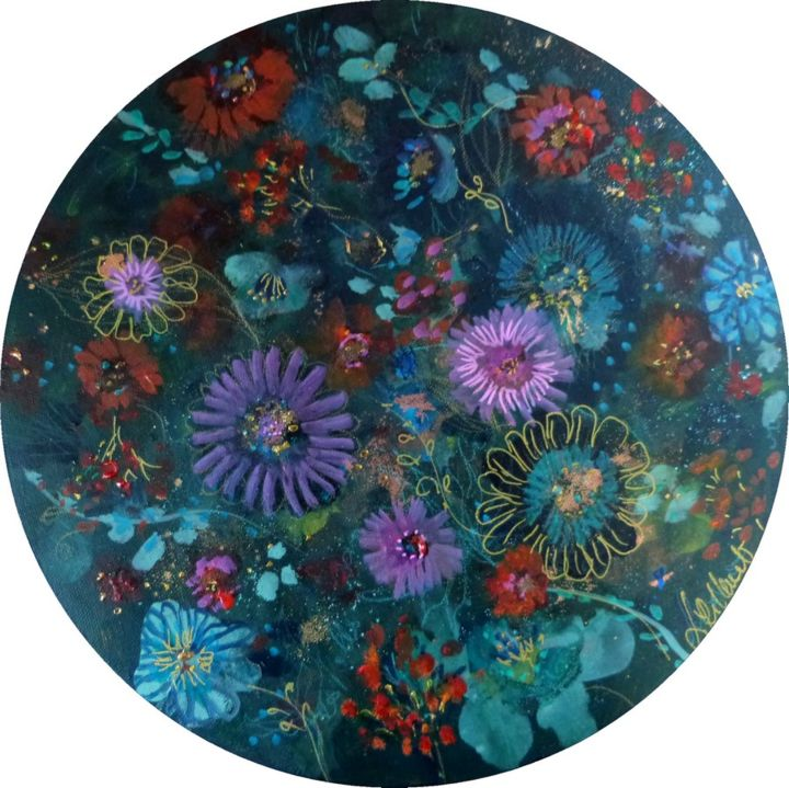 """Round canvas with flower motifs """"Flowery dream"""". - Painting,  30x30x1.5 cm ©2018 by PILLAULT -                                                            Naive Art, Canvas, Flower, flowers, round canvas, toile ronde, graphic flowers, fleurs, mixed media, acrylic painting"""