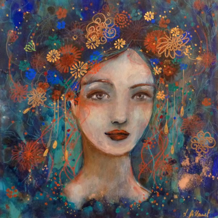 Divine Ondine - Painting,  30x30 cm ©2018 by PILLAULT -                                                            Figurative Art, Wood, Women, femme, woman, bleu, blue, wood painting, peinture sur bois, poetic woman, flowers, fleurs, gold, doré, mix media, acrylic, 30x30cm, oniric art