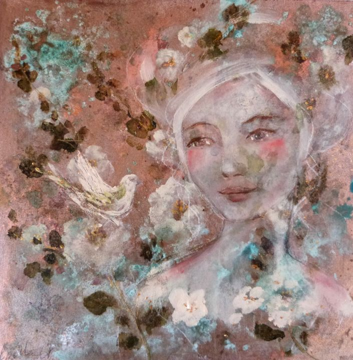 Les fleurs de l'aube - Painting,  30x30x1.5 cm ©2018 by PILLAULT -                                                                                                Figurative Art, Impressionism, Symbolism, Wood, Fairytales, Women, woman, white bird, white flowers, romantic portrait, romantic woman, 30x30cm, gold, bronze, mixed media, femme romantique, oiseau, fleurs blanches, doré