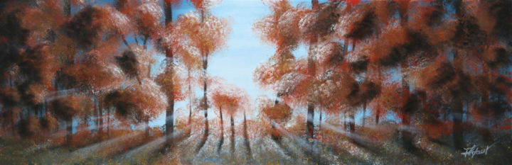 sous bois - Painting,  11.8x35.4x1.6 in, ©2018 by LOIC Thepaut -                                                                                                                                                                                                                                                                      Figurative, figurative-594, Landscape, sous bois, paysage