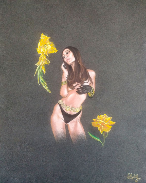 Golden Lifestyle - Drawing,  11.8x9.5 in, ©2019 by Lola Erika G -                                                                                                                                                                                                                                                                                                                                                                                                                                                                                                                                                                                                                                                                                                                                                                                                                                                                                                                                                                                                                                                                                                                                                                                                                                                                              Figurative, figurative-594, Body, Pop Culture / celebrity, Women, Flower, People, realism, realistic, flowers, yellow, details, jaune, contemporary realism, contemporary, woman, femme, portrait, figurative, figure, body, anatomy, pencils, colored pencils, pastel, skin, black paper