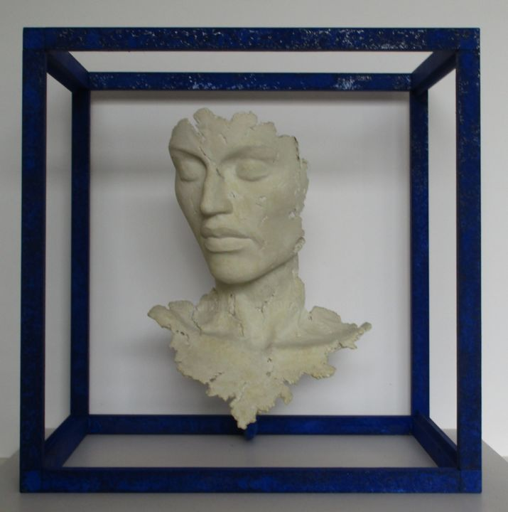 L' heure bleue - Sculpture,  15.8x15.8x15.8 in, ©2019 by JEAN-YVES VERNE -                                                                                                                                                                                                                                                                                                                                                                                                                                                                                                                                                                                                                                                                                  Figurative, figurative-594, Colors, Classical mythology, Portraits, Spirituality, sculpture, ciment, portrait, buste, classique, sculpture contemporaine, bleu outremer, verne