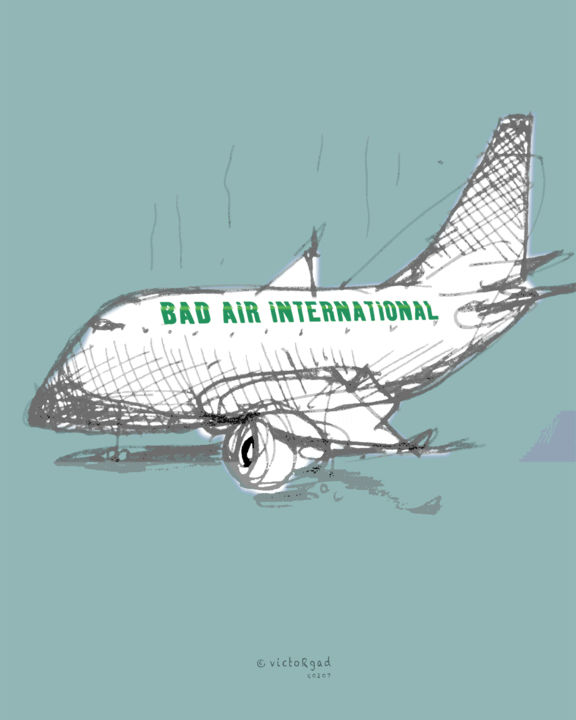 Bad Air... - Digital Arts, ©2011 by Victor Gad -                                                                                                                                                                                                                                                                                                                                                                                                          Illustration, illustration-600, Business, Health & Beauty, Transportation, Airlines, Pollution, Air travel