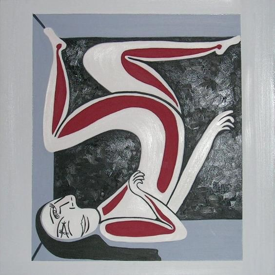Women in a box - Painting,  60x60 cm ©2003 by Helene -                            Abstract Art, woman, box, girl