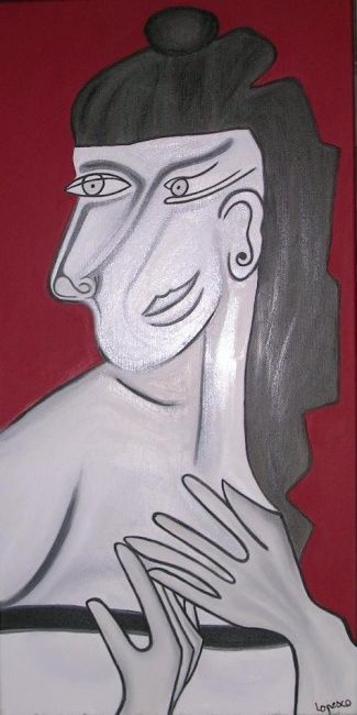 La Diva - Painting,  31.5x15.8 in, ©2003 by Helene -                                                                                                                                                                                                                      Naive Art, naive-art-948, Diva, femme magnifique