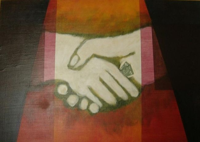 Business agreement - Painting,  15.8x19.7 in, ©2004 by Helene -                                                                                                                          Naive Art, naive-art-948