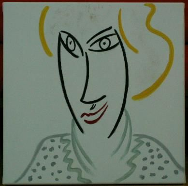 Miss Lady - Peinture,  11,8x11,8x0,4 in, ©2006 par Helene -                                                                                                                                                                          Abstract, abstract-570, Lady Diana dead in 1997