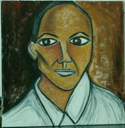 Obama à travers les yeux de Picasso - Painting,  19.7x15.8 in, ©2010 by Helene -                                                              Obama - 44th and current President of the United States