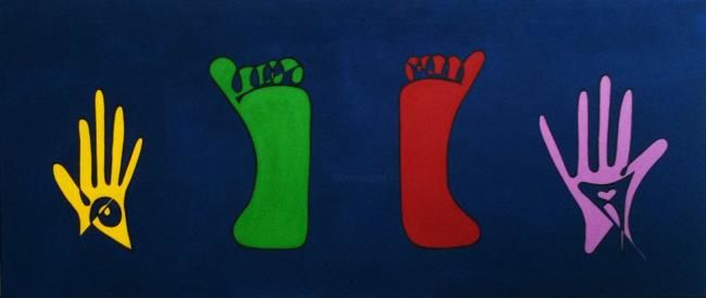 Des Pieds & des Mains - Painting,  60x140 cm ©2010 by Helene -                        Abstract Art