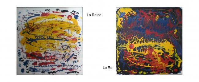 La Reine & le Roi - Peinture,  19,7x19,7x0,4 in, ©2011 par Helene -                                                                                                                          Abstract, abstract-570