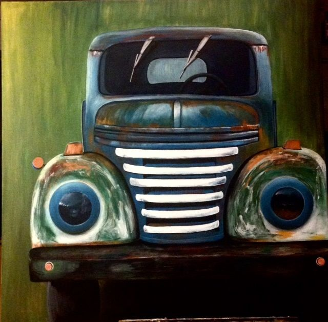 camion.jpg - Painting,  100x100x2 cm ©2016 by Helene -                                                        Figurative Art, Canvas, Automobile