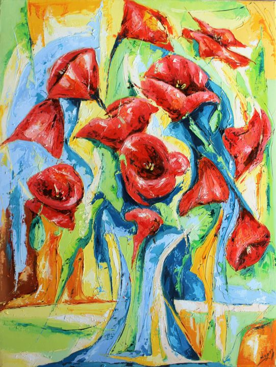 Flower Painting, oil, figurative, artwork by Jean-Luc Lopez