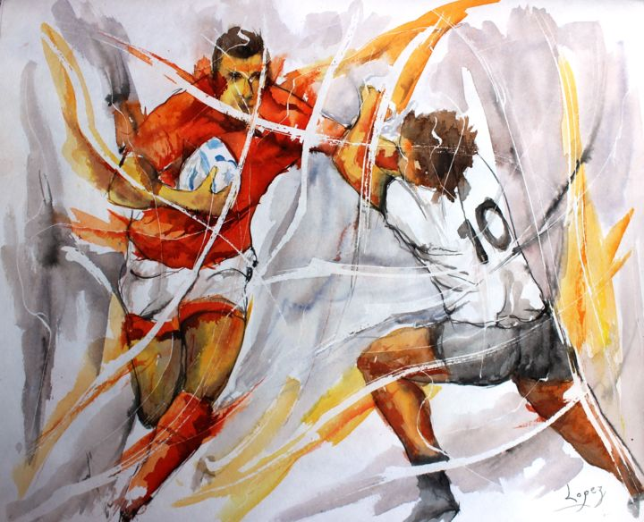 400 Raffut de rugby - Painting,  16.1x19.7 in, ©2018 by Jean-Luc Lopez -                                                                                                                                                                                                                                                                                                                                                              Figurative, figurative-594, Sports, rugby, sport, mouvement, painting