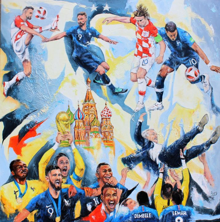 20 ans après - Painting,  39.4x39.4 in, ©2018 by Jean-Luc Lopez -                                                                                                                                                                                                                                                                                                                                                                                                                                                                                                                                                                                                                                                                                                                                                                                                                      Figurative, figurative-594, Sports, football, footballeurs, coupe, monde, 2018, france, croatie, deschamps, giroud, mbappé, Mandanda, Lloris, Tolisso, Modric