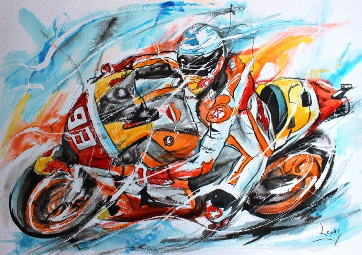 414 A toute vitesse - Painting,  16.1x19.7 in, ©2018 by Jean-Luc Lopez -                                                                                                                                                                                                                                                                                                                                                                                                                                                      Figurative, figurative-594, Motor, Motorcycle, Sports, moto, motard, sport, circuit