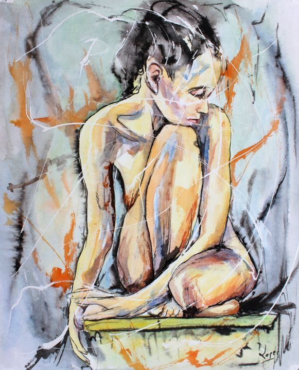Nue à table - Painting,  19.7x16.1 in, ©2019 by Jean-Luc Lopez -                                                                                                                                                                                                                                                                                                                                                              Figurative, figurative-594, Women, Nude, femme, nue, corps