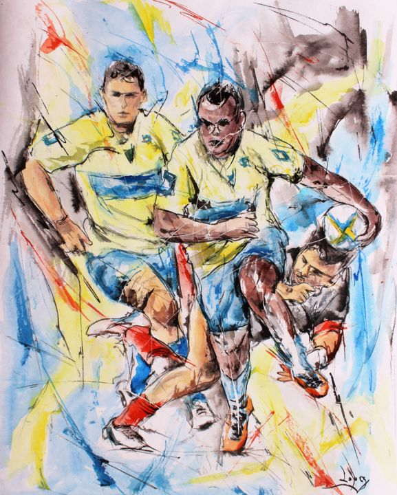 Clermont d'attaque - Painting,  19.7x16.1 in, ©2019 by Jean-Luc Lopez -                                                                                                                                                                                                                                                                                                                                                              Figurative, figurative-594, Sports, sport, rugby, rugbymen, painting