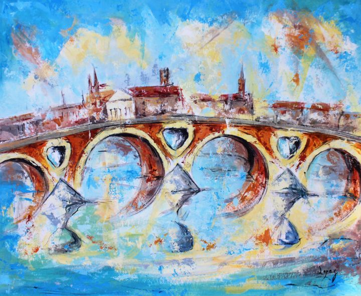 1239 Pont Neuf d'hiver - Painting,  16.1x19.7 in, ©2019 by Jean-Luc Lopez -                                                                                                                                                                                                                                                                                                                                                                                                          Figurative, figurative-594, Architecture, Cities, pont, neuf, toulouse, garonne