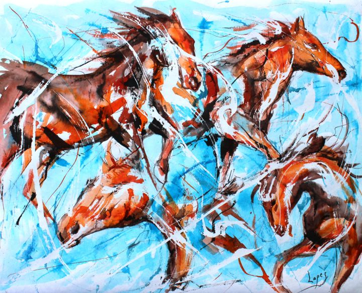 450 Harde de chevaux - Painting,  16.1x19.7 in, ©2019 by Jean-Luc Lopez -                                                                                                                                                                                                                                                                                                                  Figurative, figurative-594, Animals, animaux, chevaux, sauvage