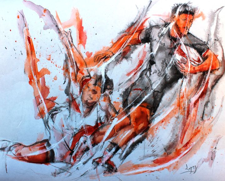 459 Rugby sang Toulousain - Painting,  16.1x19.7 in, ©2020 by Jean-Luc Lopez -                                                                                                                                                                                                                                                                                                                                                              Figurative, figurative-594, Sports, sport, rugby, rugbyman, toulouse