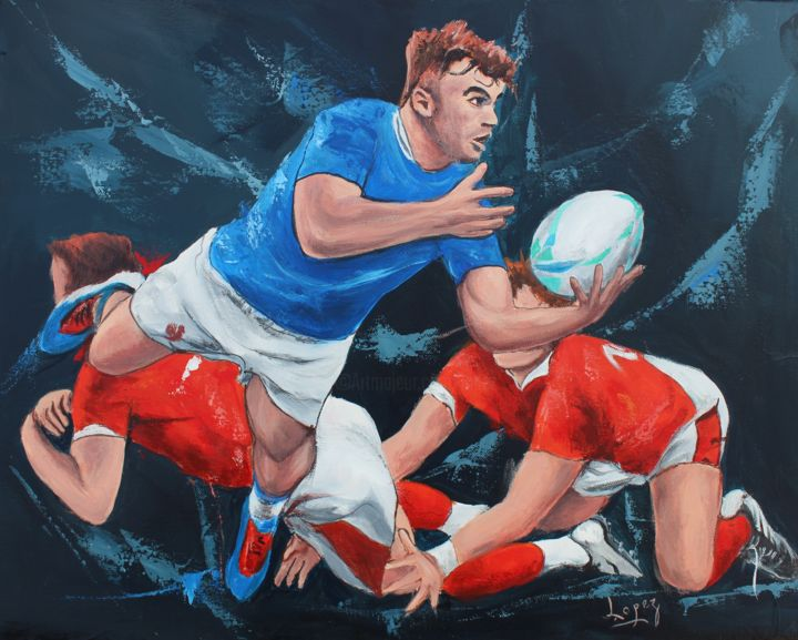 1238 Nuit de rugby - Painting,  15.8x19.7 in, ©2020 by Jean-Luc Lopez -                                                                                                                                                                                                                                                                      Figurative, figurative-594, Sports, sport, rugby