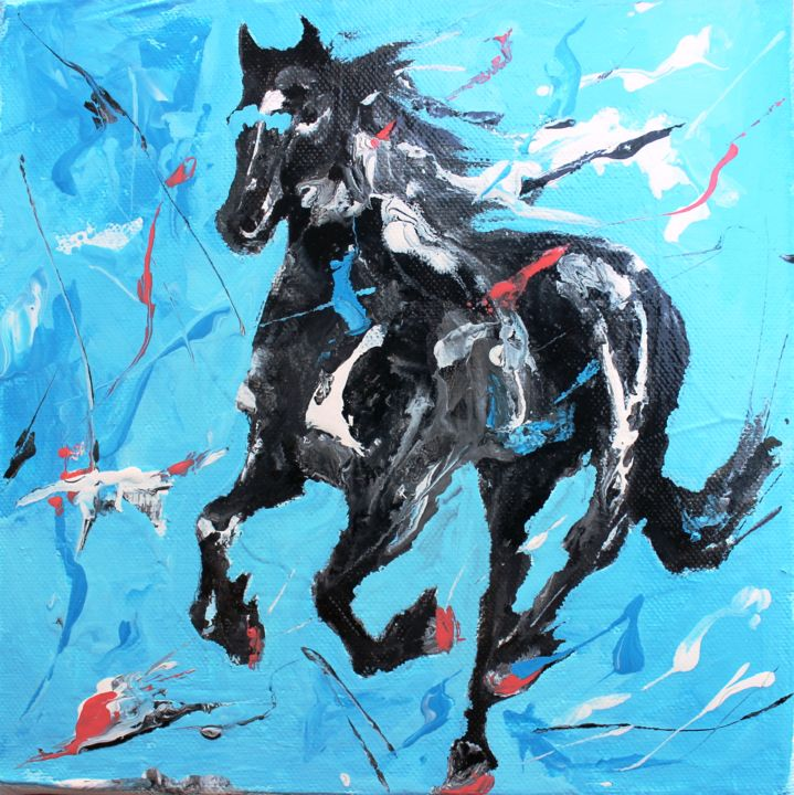 1422 : Cheval - Painting,  7.9x7.9 in, ©2020 by Jean-Luc Lopez -                                                                                                                                                                                                                                                                                                                                                              Figurative, figurative-594, Animals, Horses, cheval, animaux, horse