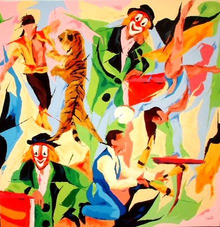 Cirque Pinder - Painting,  39.4x39.4 in, ©2004 by Jean-Luc Lopez -                                                              cirque  clowns animaux jongleurs
