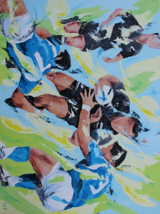 Rugby black - Painting,  23.6x31.5 in, ©2009 by Jean-Luc Lopez -                                                                                                                                                                                                                                                                                              Sports, rugby, peinture, all black, sport, painting