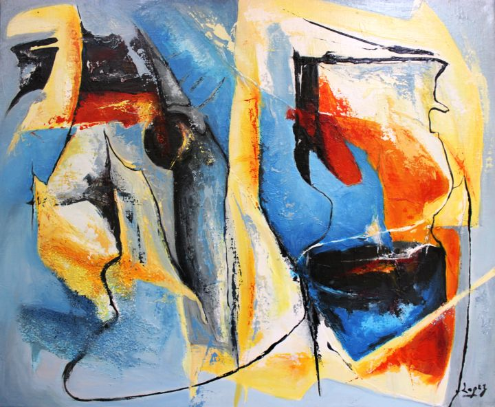 Interaction - Painting,  18.1x21.7 in, ©2013 by Jean-Luc Lopez -                                                                                                                                                      Acrylique, abstraction, abstrait