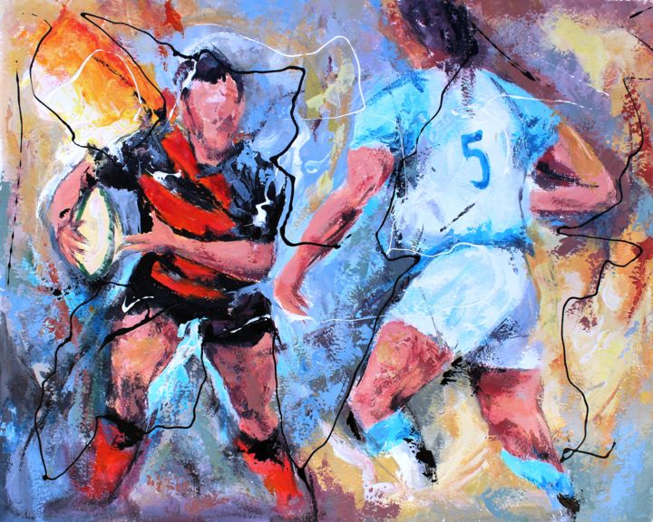 Rugby Toulouse 2 - Peinture,  15,8x19,7 in, ©2014 par Jean-Luc Lopez -                                                                                                                                                                                                  rugby, Toulouse, top 14, mouvement