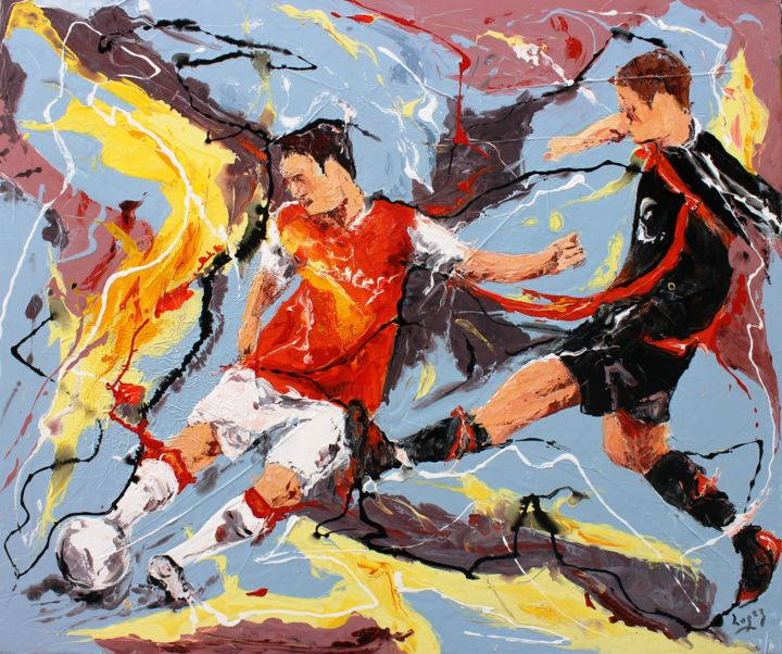 Football de contre - Painting,  1.2x19.7x23.6 in, ©2014 by Jean-Luc Lopez -                                                                                                                                                                                                                                                                                                                                                              Figurative, figurative-594, Sports, Football, painting, peinture, sport