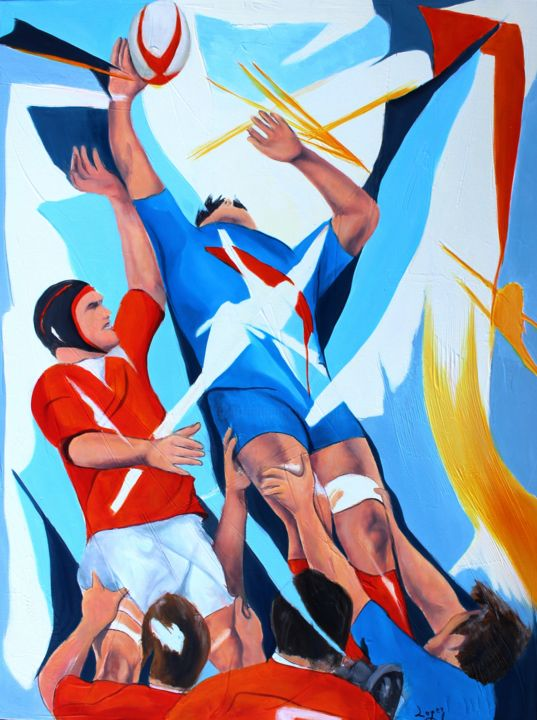 Rugby Painting, oil, figurative, artwork by Jean-Luc Lopez