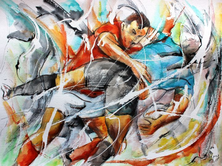 Plaquage en douleur - Painting,  14.2x18.9 in, ©2016 by Jean-Luc Lopez -                                                                                                                                                                                                                                                                                                                                                                                                          Figurative, figurative-594, Sports, rugby, rugbymen, sport, painting, peinture