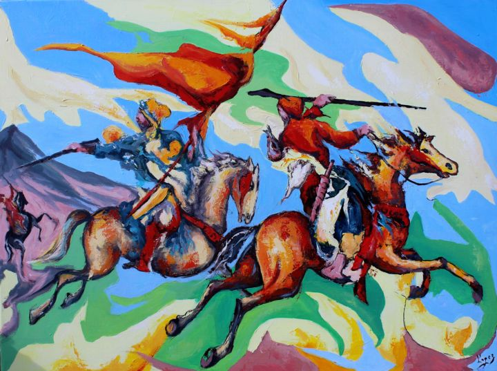 Fantasia Marocaine - Painting,  23.6x28.7 in, ©2017 by Jean-Luc Lopez -                                                                                                                                                                                                                                                                                                                                                                                                          Figurative, figurative-594, Performing Arts, Horses, Fantasia, chevaux, soldats, marocains