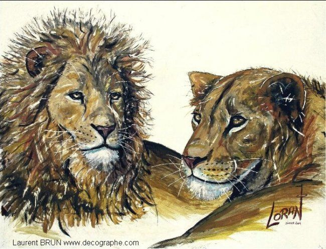 LES LIONS - Painting,  116x89 cm ©2004 by LoraN -                            Environmental Art, peinture LION LIONNE