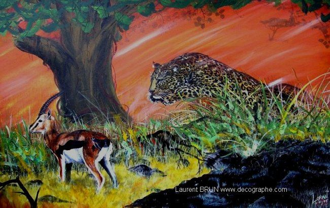 L' OMBRE & LA PROIE - Painting,  80x60 cm ©1998 by LoraN -                            Environmental Art, panthera pardus gazelle de thomson