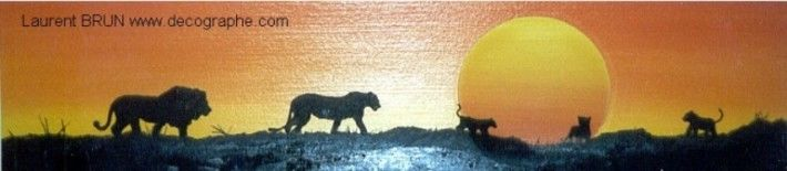 LE PANORAMIQUE DES LIONS - Painting,  52x12 cm ©1996 by LoraN -                            Environmental Art, lion lionne lionceau panthera leo